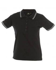 Polo Minorca Lady-Black-100% Cotone Jersey Pettinato-S